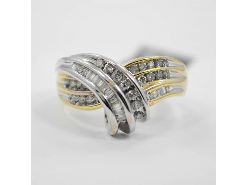 1.15Ct Diamond Cocktail Ring Baguette & Round Two-Tone 14K Gold 5 grams SIZE 7