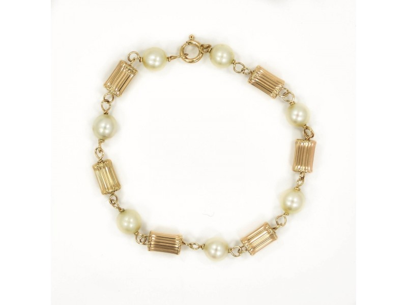"Cultured Pearl Bracelet In 14K Yellow Gold 7MM Stones 5.8 Grams 7"""