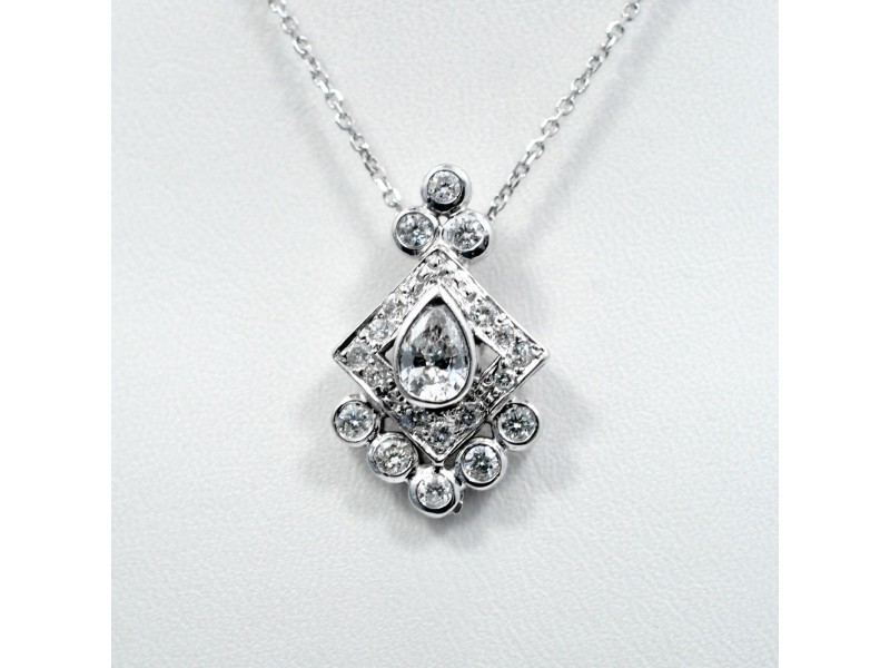 Diamond Pendant 0.40Ct Pear Surrounded by Square Pave Box Bezel Setting 0.82Ct