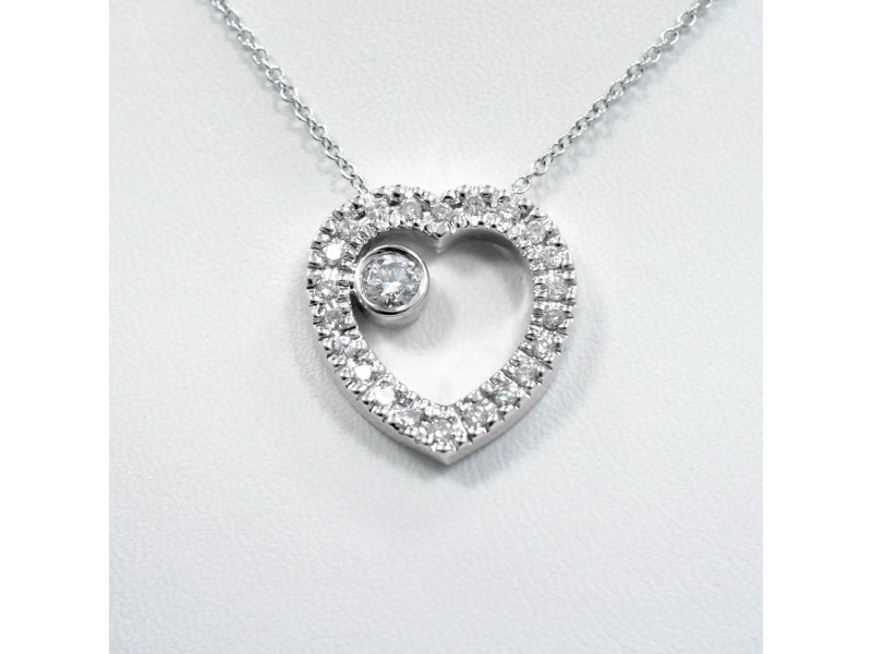 Heart Diamond  Pendant 1.04Ct Pave Setting Diamonds in 14K White Gold