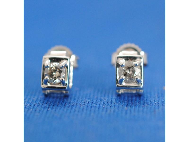 Diamond Studs 0.15CT 14K White Gold Push-back
