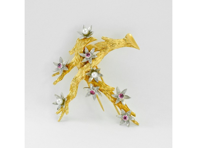 Blossoming Tree Brooch Pin 18K Gold Genuine Cabochon Rubies & Round Pearls