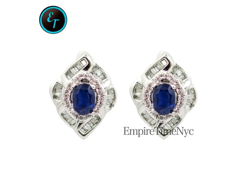 White White Gold Diamond, Sapphire Mens Earrings