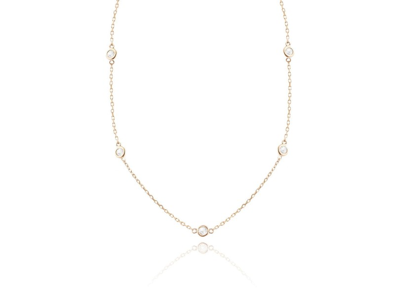 Diamond by the Yard Necklace In 14K Rose Gold 0.79CT G VS1 3.5 Grams 17""