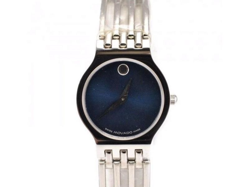 Movado 84.25.811.4 Stainless Steel Bracelet Blue Dial Quartz Womens Watch