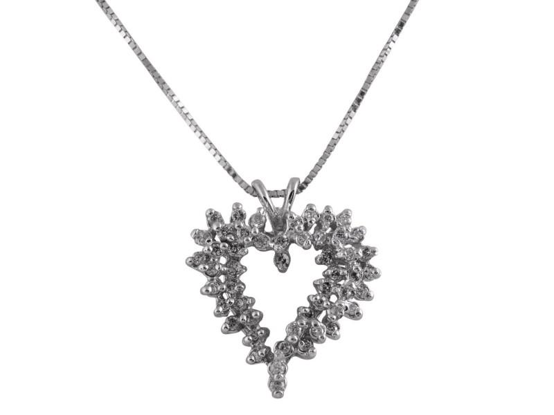 Heart Pendant in 14k White Gold 0.25CT Round Diamonds I Color VS2 3.1 Grams