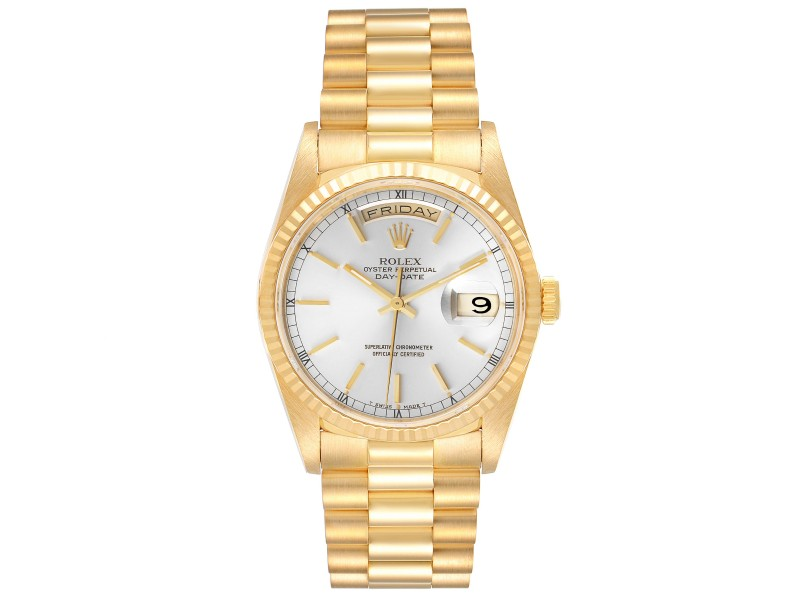 Rolex President Day-Date Silver Dial Yellow Gold Mens Watch 18238