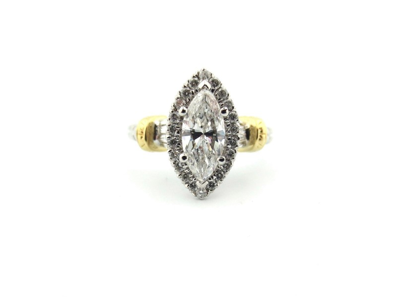 18k Yellow & White Gold 1.31Ct Natural Marquise Cut Diamond Engagement Ring