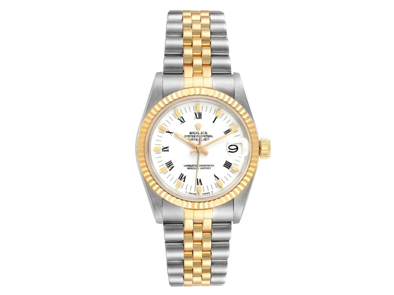 Rolex Datejust Midsize 31 White Dial Steel Yellow Gold Ladies Watch 68273