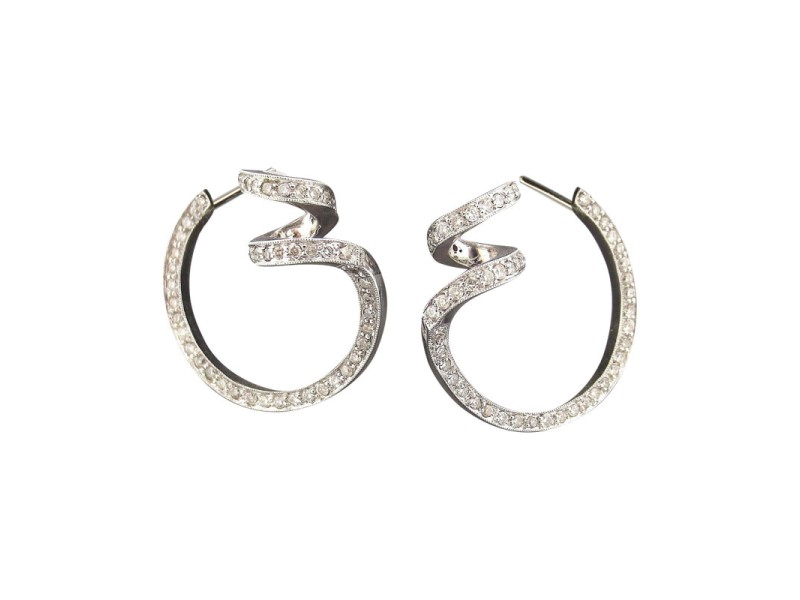 14k White Gold 1.50Ct Round Diamond Circle & Curly Shape Latch-back Earrings