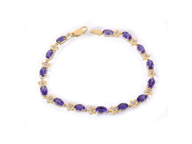 14K Yellow Gold 0.10ct Diamond and 5.00ct Amethyst Flower Link Bracelet