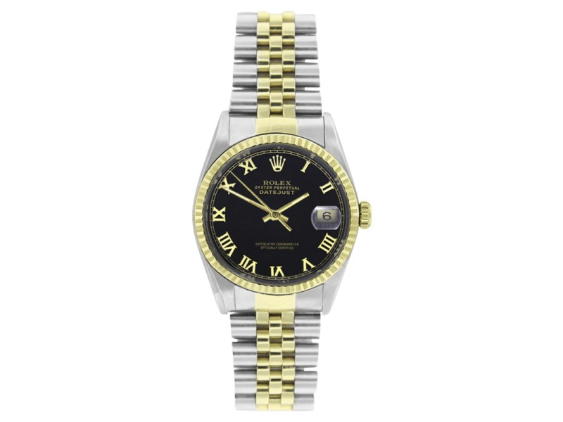 Rolex Datejust 16233 Steel & Gold Black Roman Dial 18K Gold Fluted Bezel Mens 36mm Watch