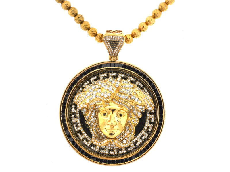 10Kt Yellow Gold Diamond Medusa Pendant w/ Gold Ball Chain Necklace