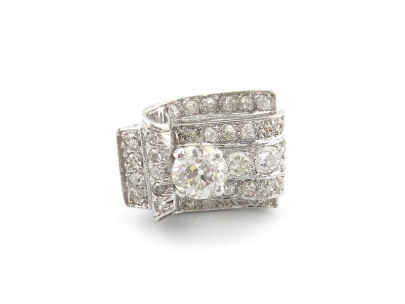 Platinum Round Center 2.87 Ct Diamond Rectangle Engagement Ring Size 6.5