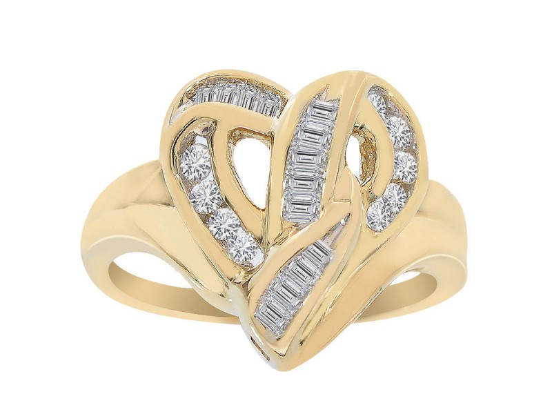 14K Yellow Gold 0.35ct Diamond Heart Cluster Ring Size 5.75
