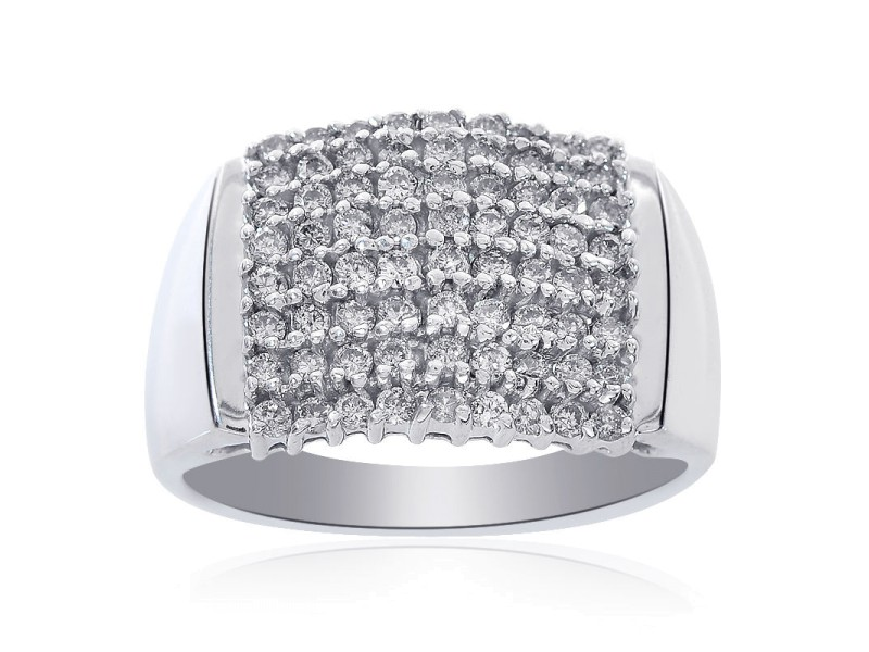 10K White Gold 0.75 Ct Round Cut Diamond Cluster Pyramid Ring Size 10.75