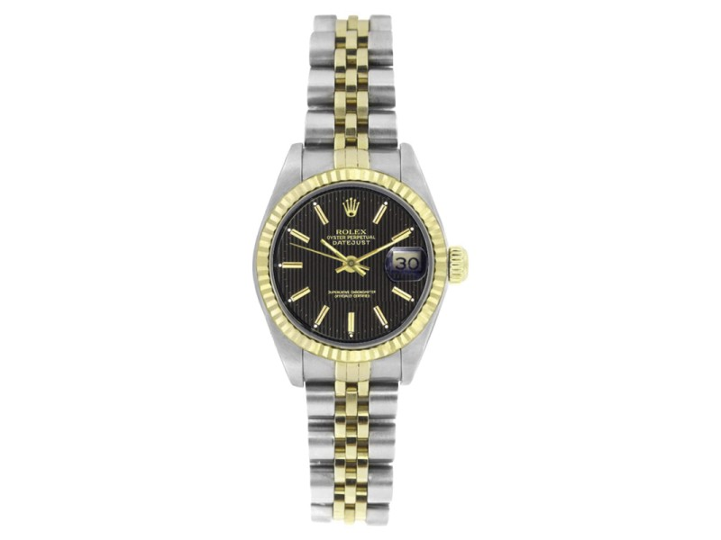 Rolex Datejust 6917 Stainless Steel and 18K Yellow Gold Black Tapestry Stick Dial 26mm Womens Watch