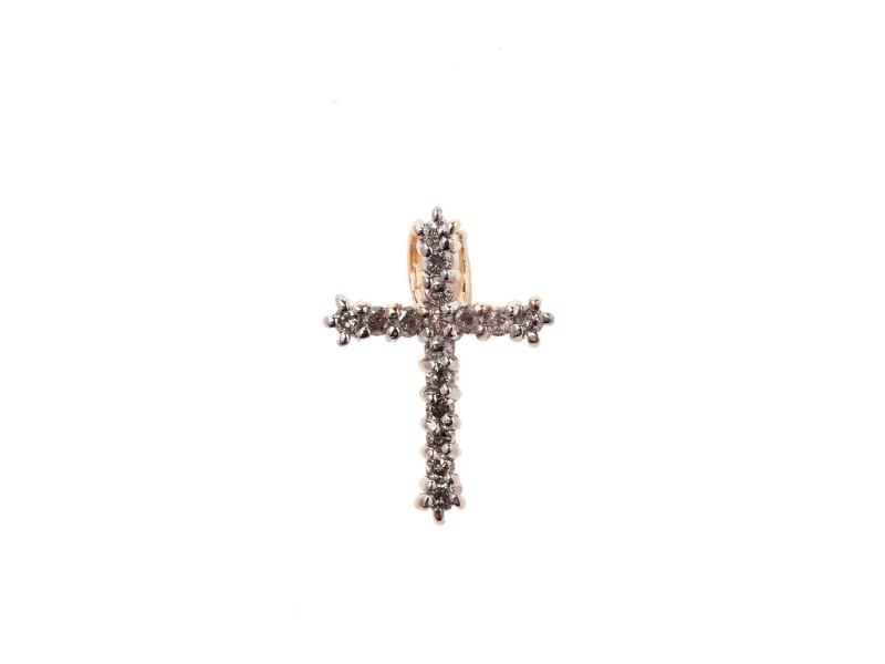 14K Yellow Gold & 0.40ct. Diamond Cross Pendant
