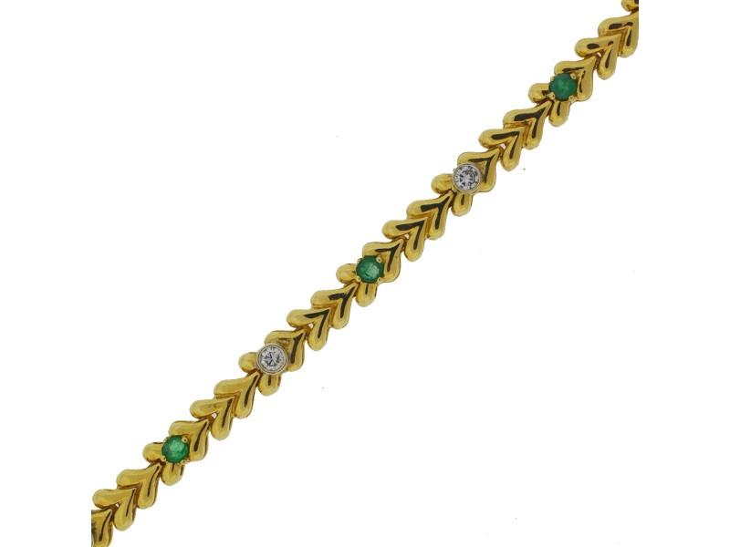 Yellow Gold Diamond, Emerald Mens Bracelet