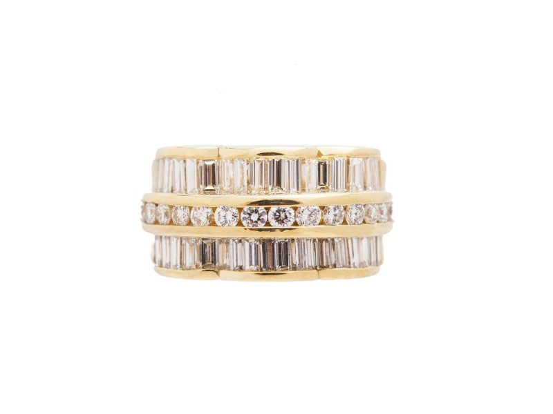 18K Yellow Gold Round Baguette 2.5Ct Diamond Ring 11.23 Gr Size 5.5
