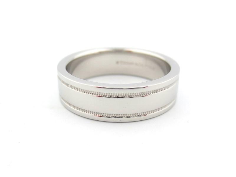 Tiffany & Co. Platinum Milgrain Band Ring Size 8.5