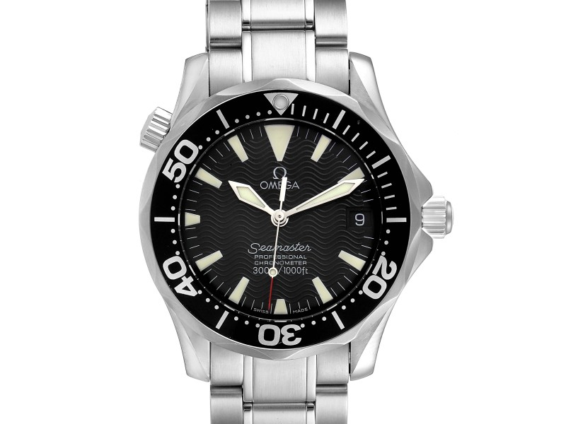 Omega Seamaster 36mm Midsize Black Wave Dial Steel Watch 2252.50.00