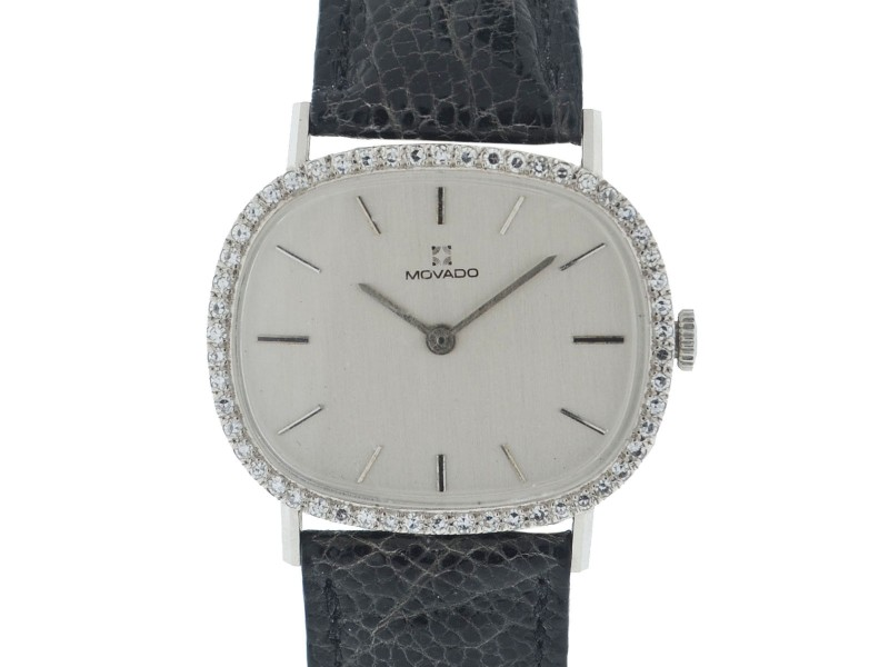 Movado 14K White Gold Hand-Winding 32mm Unisex Vintage Watch