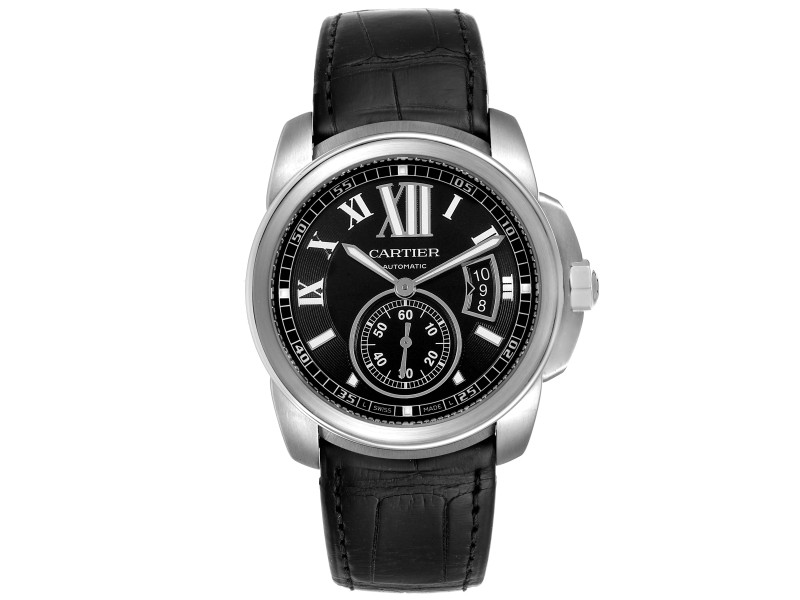 Cartier Calibre Black Dial Steel Mens Watch W7100041