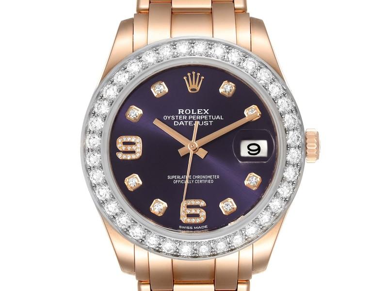 Rolex Pearlmaster 39 18k Rose Gold Diamond Mens Watch 18948 Box Card