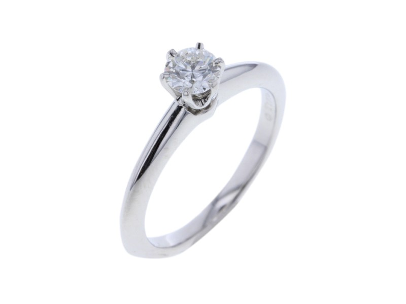 Tiffany & Co. 950 Platinum with 0.31ct Diamond Solitaire Ring Size 4.25