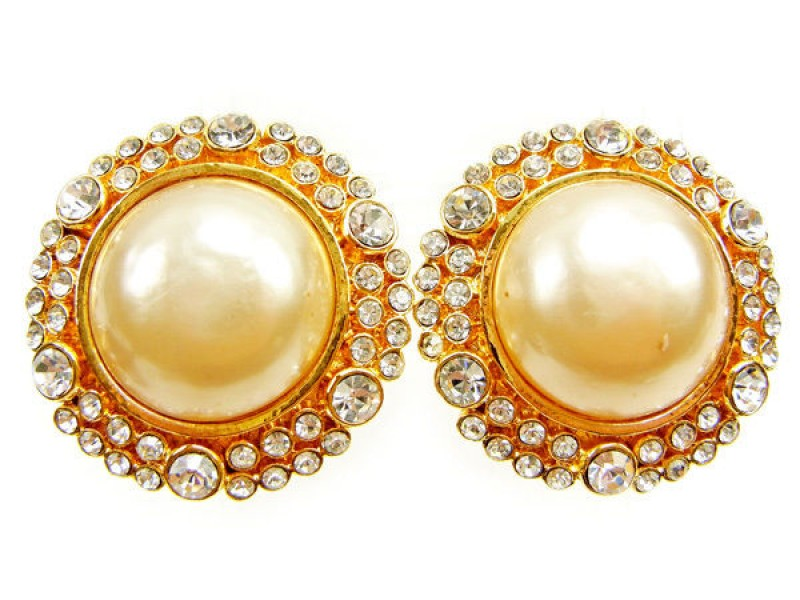 Chanel Gold Tone Hardware with Rhinestone and Simulated Glass Pearl Earrings