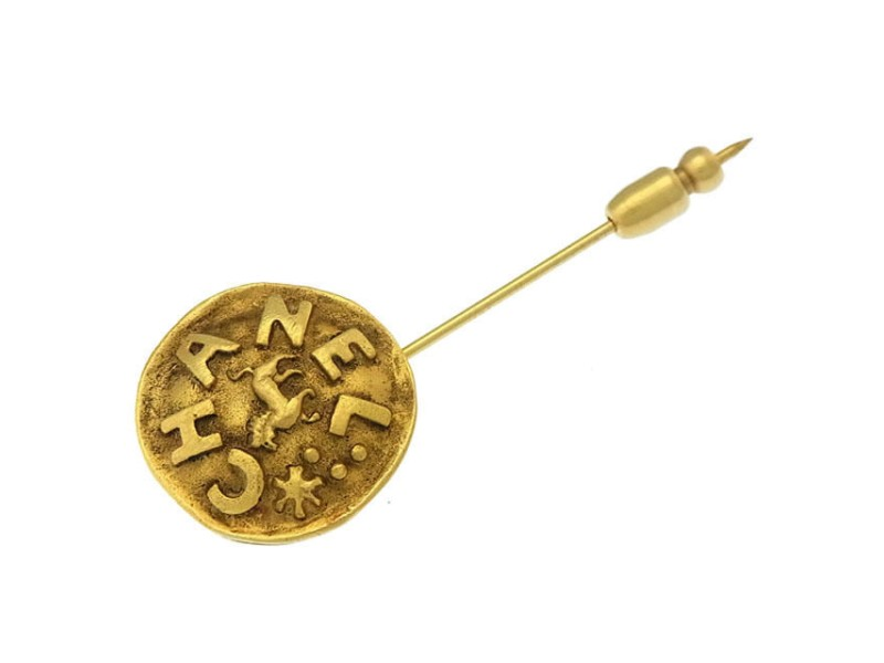 Chanel Gold Tone Hardware Pin Brooch