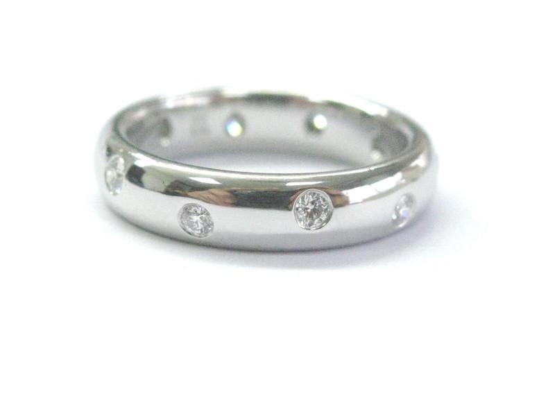 Tiffany & Co. Etoile Platinum with 0.22tw Diamond Wedding Band Ring Size 8.5