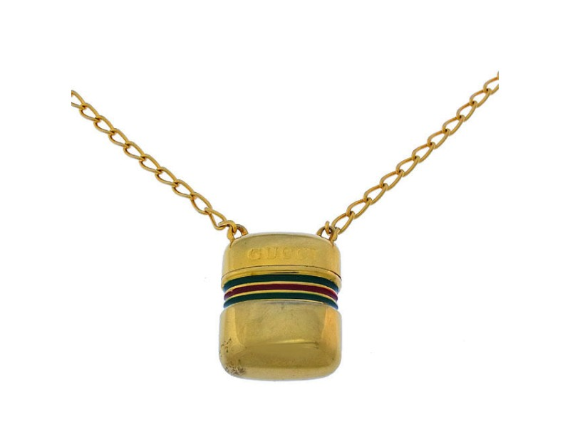 Gucci Gold Tone Hardware Pendant Necklace