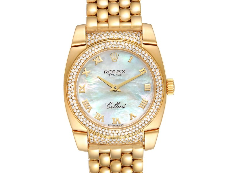 Rolex Cellini Cestello Yellow Gold MOP Diamond Ladies Watch 6311