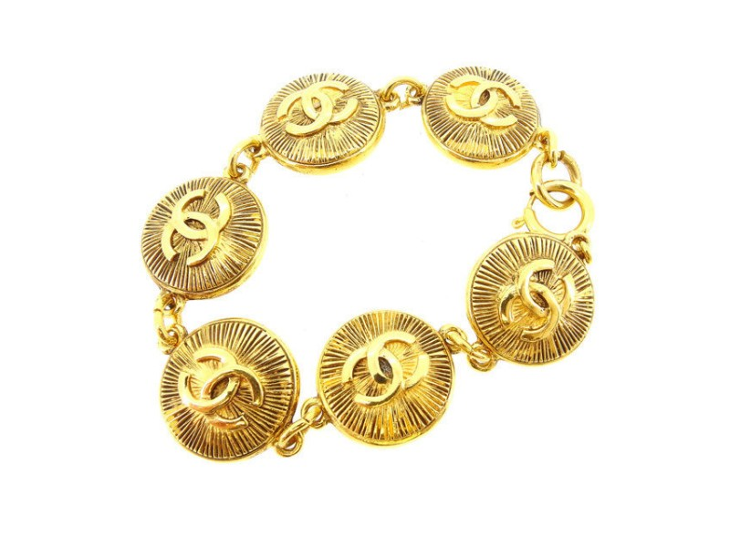 Chanel Coco Mark Gold Tone Hardware Bangle Bracelet