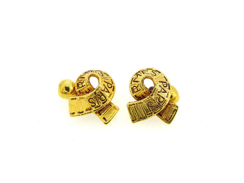 Hermes Logo Gold Tone Hardware Cufflinks