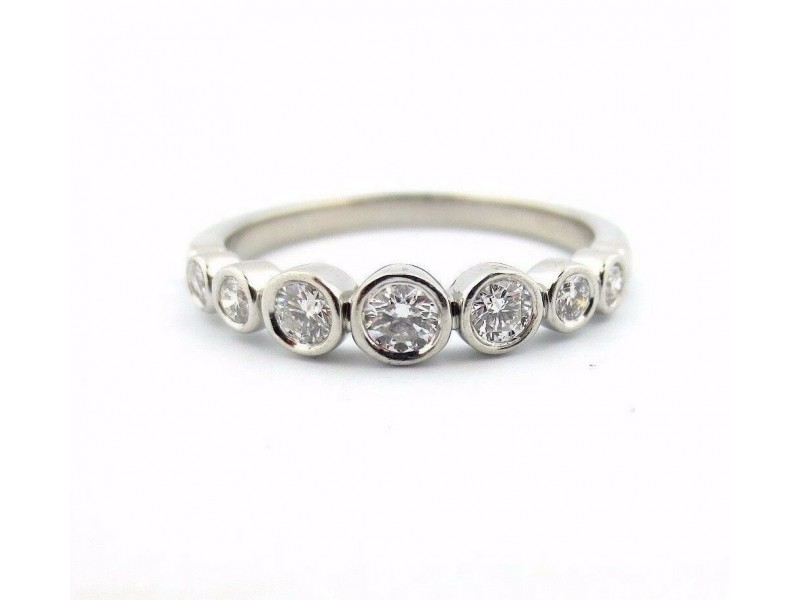 Tiffany & Co Platinum Tiffany Jazz Graduated Diamond Band Ring .31CT Size 7.5