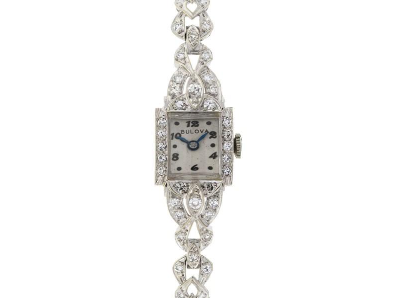 Bulova Vintage 14k White Gold Ladies Diamond Watch 1.00 Cts