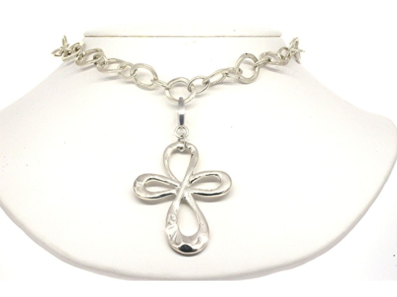 Robert Lee Morris Studi RML Cross & Toggle Chain Necklace Sterling Silver 18.5""
