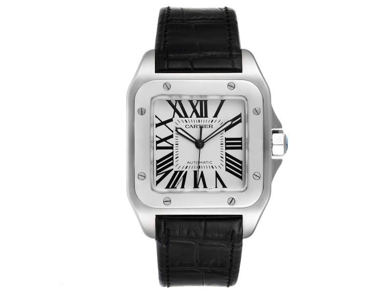 Cartier Santos 100 Silver Dial Black Strap Steel Mens Watch W20073X8