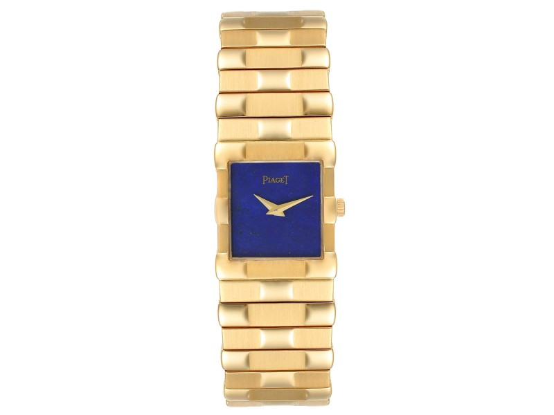 Piaget 18K Yellow Gold Lapis Lazuli Dial Quartz Mens Watch 81301