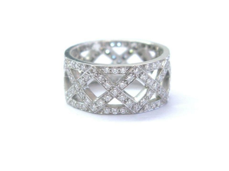 Tiffany & Co Platinum Braided Diamond WIDE Band Ring 8.5mm 1.25Ct Size 5.5