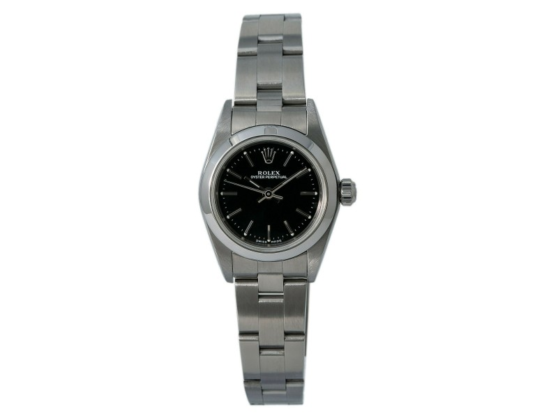 Rolex OysterPerpetual 76080 Lady Automatic Watch Black Dial Stainless Steel 24mm