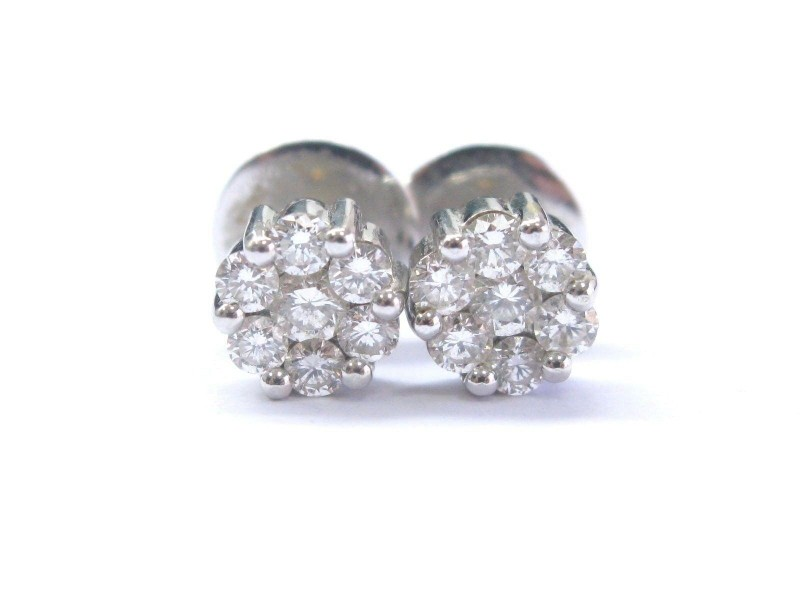 18Kt Round Cut Diamond Circular Cluster White Gold Stud Earrings 7.8mm 1.00Ct