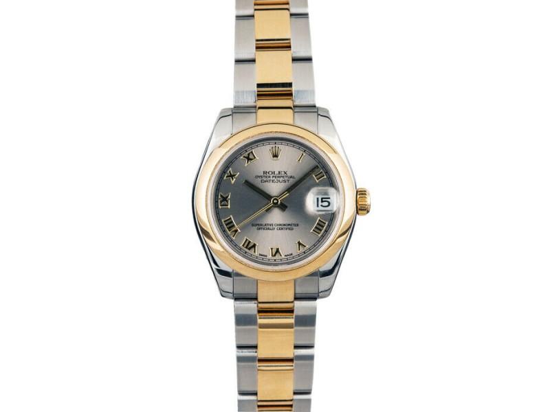 Rolex Datejust 31mm 178243 Women's Silver Roman Yellow Gold 31mm 1 Year Warranty