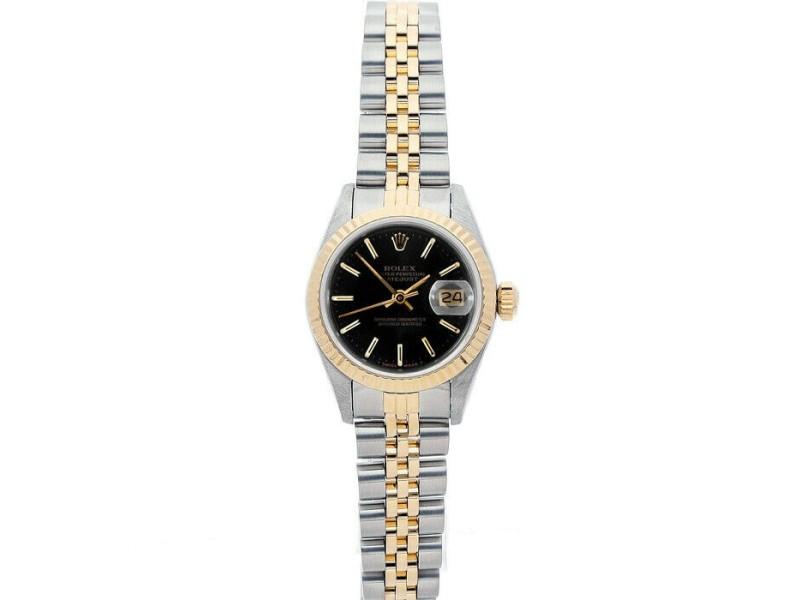 Rolex Datejust 26mm 69173 Women's Black Index Yellow Gold 26mm 1 Year Warranty