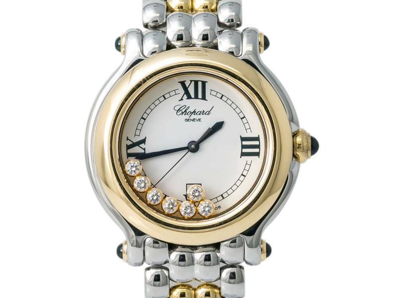 Chopard Happy Sport 27/8249-23 32MM Lady's Watch Two-Tone 18k 7 Diamonds Dial