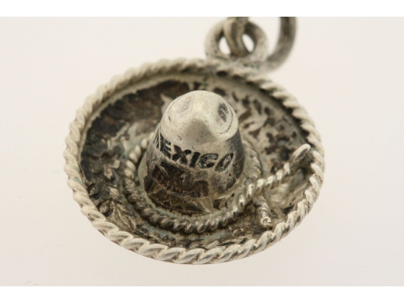 Vintage Sterling Silver Charm Sombrero Mexico Hat 3D