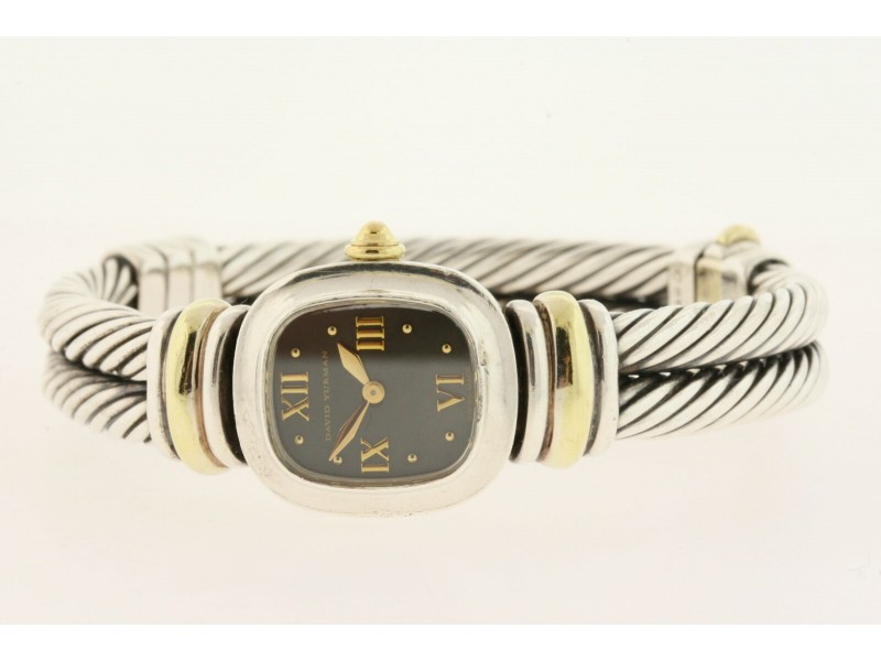 David Yurman Watch Ladies Sterling Silver 18k Gold Double Cable Black MOP Dial